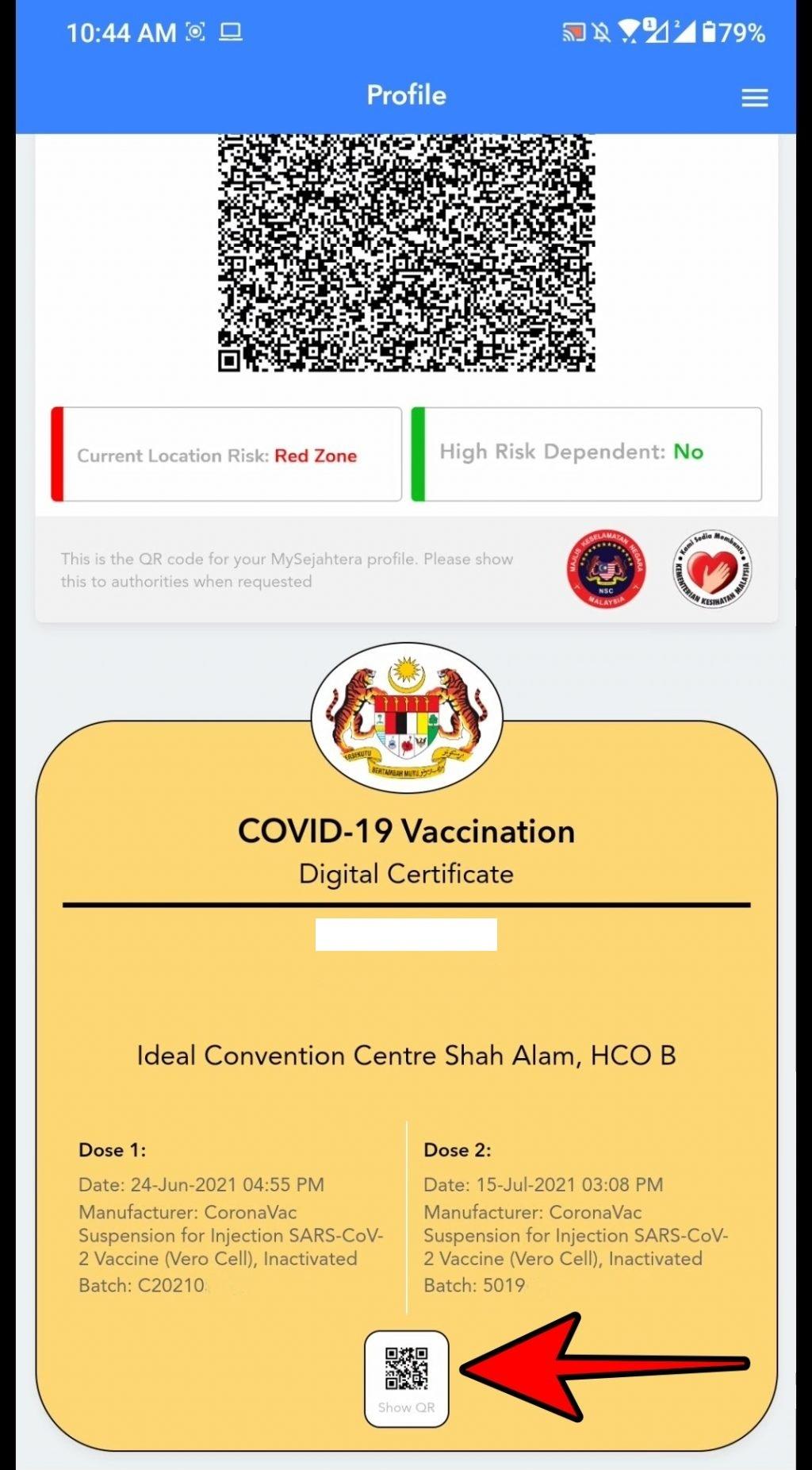 print sijil digital vaksin